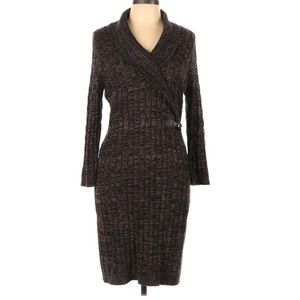 Calvin Klein cable knit buckle sweater dress 32B3